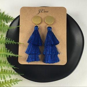 💙NWT J.Crew Blue Tassel Drop Earrings